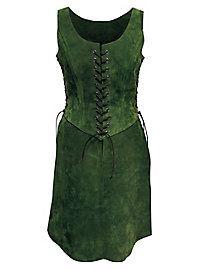Abenteurerin Waffenrock aus Leder grün   #suede #green #larp #female