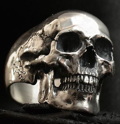 Full jaw skull ring sterling silver mens ring skull biker masonic jewelry 925