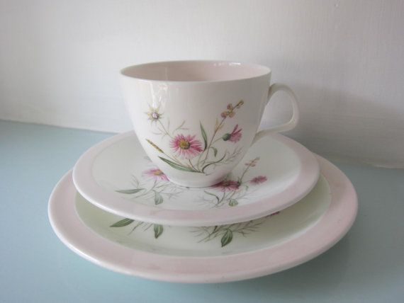 A beautiful vintage EB Foley bone china cup and saucer with matching plate trio tea set in a delicate pale pink with a summer floral design.  A really pretty tea set in perfect condition with no chips, cracks, crazing or fading.  Lovely cups like this and more, available on my Etsy store.    I am happy to deliver outside of the UK please see my shipping policy for more information or send me a message, I look forward to hearing from you.  I would love you to visit my facebook page, just