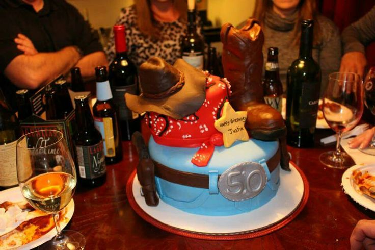 I made a Cowboy Cake for my husband's 50th B'day 2015. Hat and boot is made of rice crispy treats and fondant, the six shooters are made of chocolate and the holsters are fondant. Tons of fun to make!