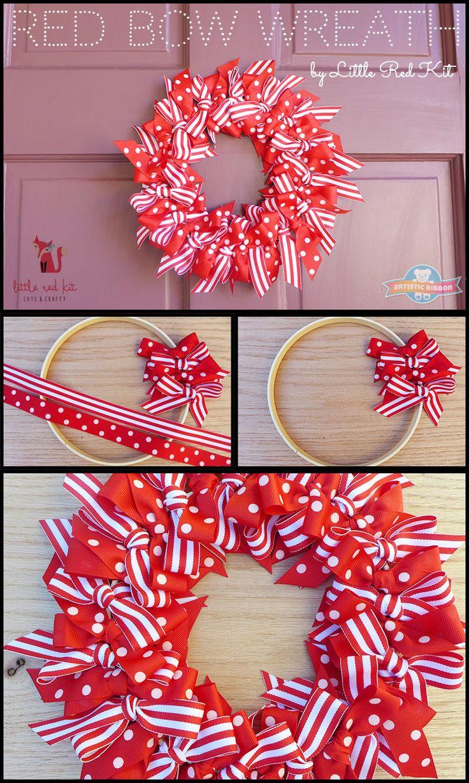 Red Bow Wreath: Tutorial by @littleredkit www.facebook.com/littleredkit