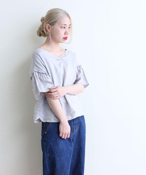 AMBIDEX Store 【予約販売】○フレンチリネン Vネック フリル袖 ブラウス(F グレー): Dot and Stripes CHILD WOMAN