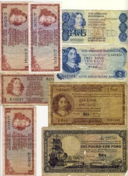 Other South African Bank Notes - Lot of 8 old South Africa banknotes was sold for R170.00 on 6 Jul at 13:30 by coins by mail in Cape Town (ID:13790095)