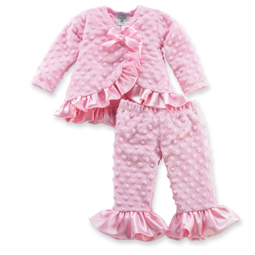 This precious, pink 2 piece set includes a long sleeve kimono style top with satin ruffles and matching pink minky ruffle pants. Arrives on satin hanger. Part of Mud Pie's Pretty in Pink collection: Girly girls get their kicks from feminine flair. Our Pretty in Pink collection captures pure femininity in the best color for girls, pink! Available in sizes 0-6 months, 9-12 months and 12-18 months.