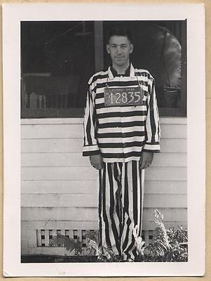 MAN in PRISON STRIPES w PA CAR LICENSE PLATE NUMBERS vtg UNUSUAL PRISONER photo