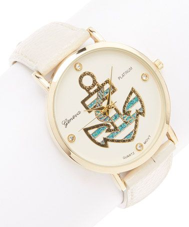 This Ivory  Gold Stripe Anchor Watch is perfect! #zulilyfinds
