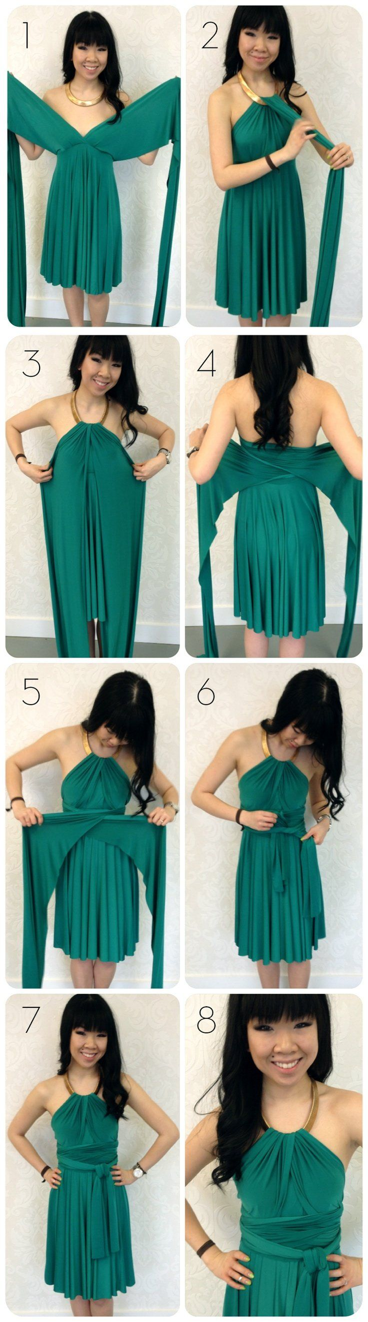 emerald green dress with gold collar – emerald green convertible dress – how to wear infinity dress with metal collar