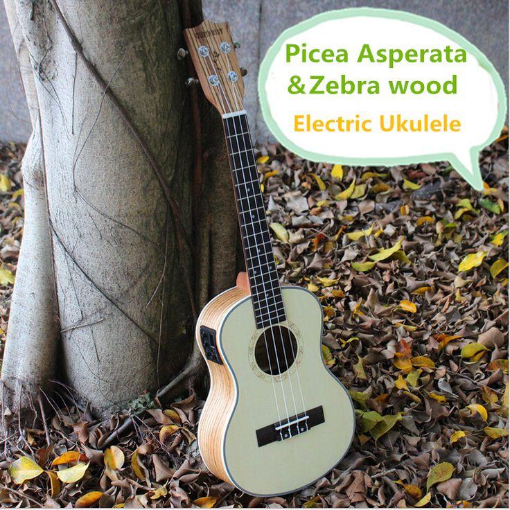 Soprano Concert Tenor Acoustique Électrique Ukulélé 21 23 26 Pouce Mini Guitare Ukulélé Guitarra Picea Asperata Zèbre Bois Plug-en Uke