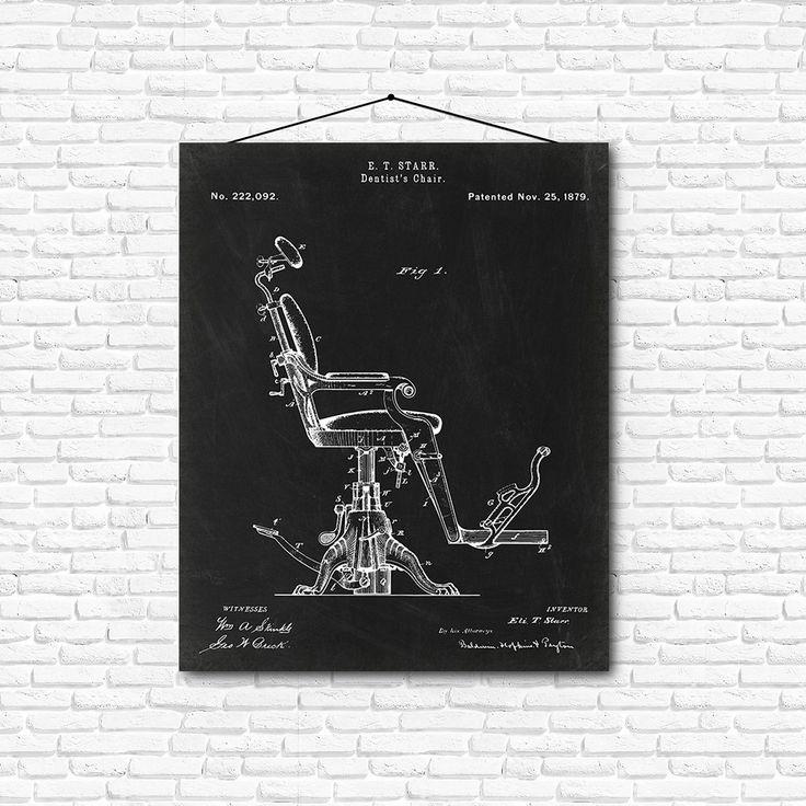 Dentist's Chair Patent Print- 1879 - Poster Wall art Illustration Print Art Home…