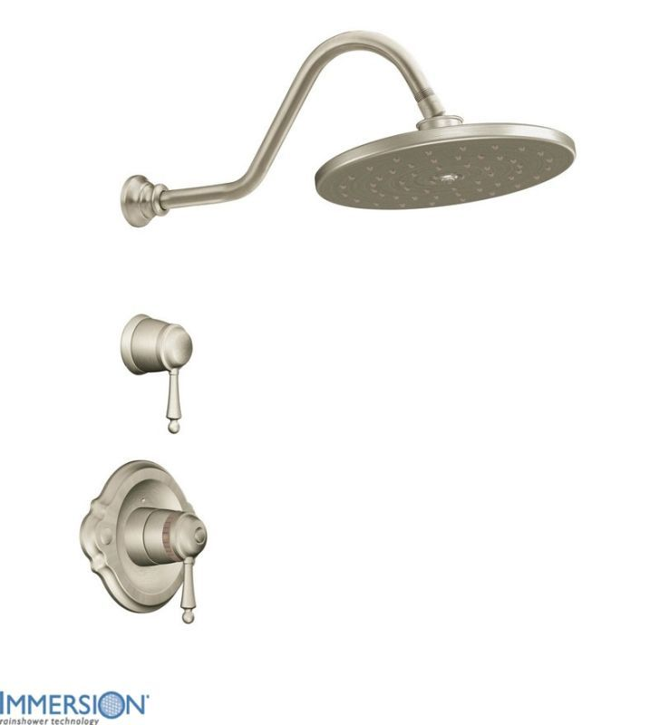 Moen TS3112 Double Handle ExactTemp Thermostatic Shower Trim with Rain Shower He Brushed Nickel Faucet Shower Only Double Handle