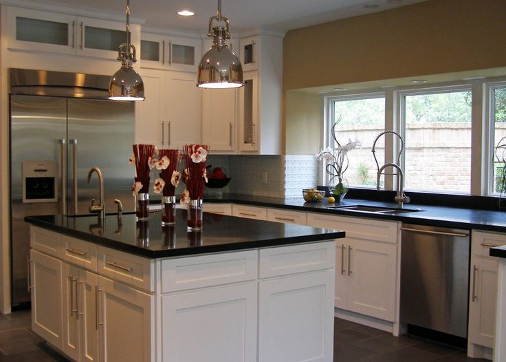 Kitchen, Awesome Minimalist Kitchen Inspiration Plus Outside Views Also With Side By Side Refrigerator Plus High Gloss Finish Black Shine Granite Countertops Plus A Couple Of Pendant Lamps And Wooden Kitchen Cabinet: Awesome Uniquely Kitchen Cabinet Styles