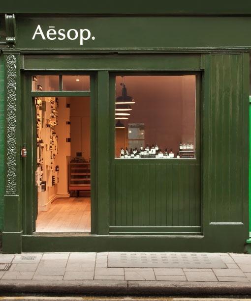 Méreg zöld üzlet front. Aesop shopfront