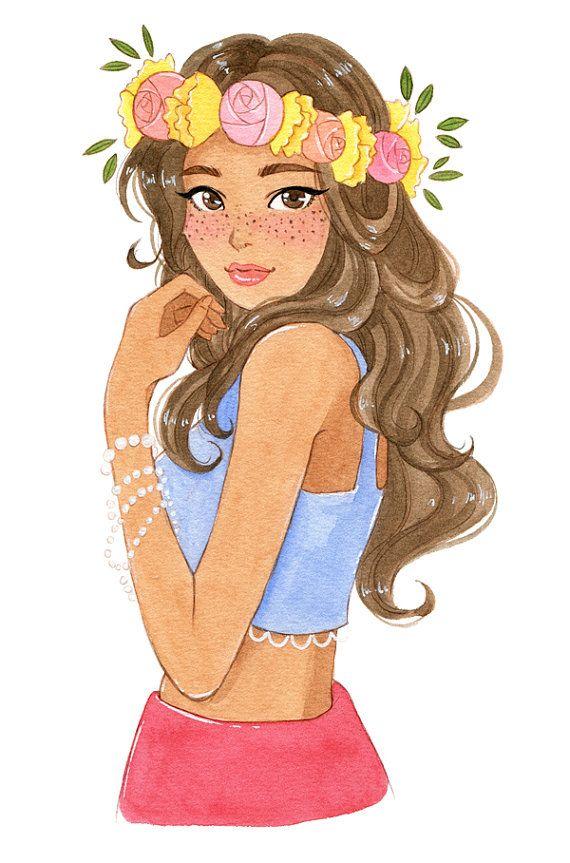 Flower wreath  watercolor print by milkyink on Etsy