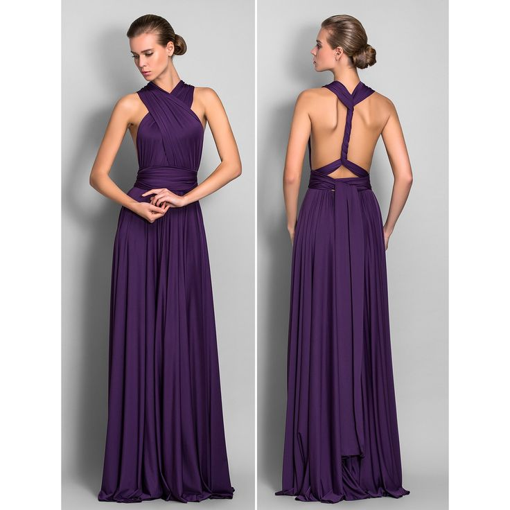 Sheath/Column Floor-length Jersey Convertible Dress