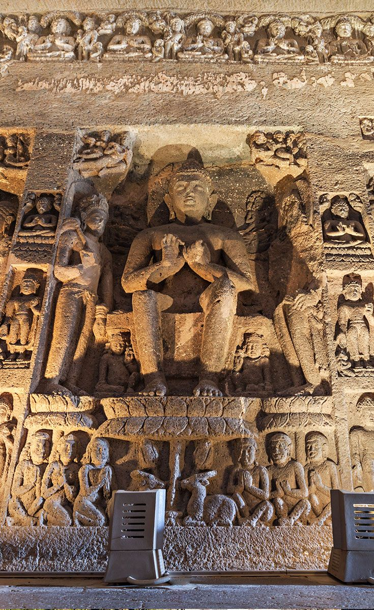The Buddhist Caves: The Buddhist caves were the earliest structures, created between the 5th and 7th centuries. These consist mostly of monasteries: large, multi-storied buildings carved into the mountain face, including living quarters, sleeping quarters, kitchens, and other rooms.
