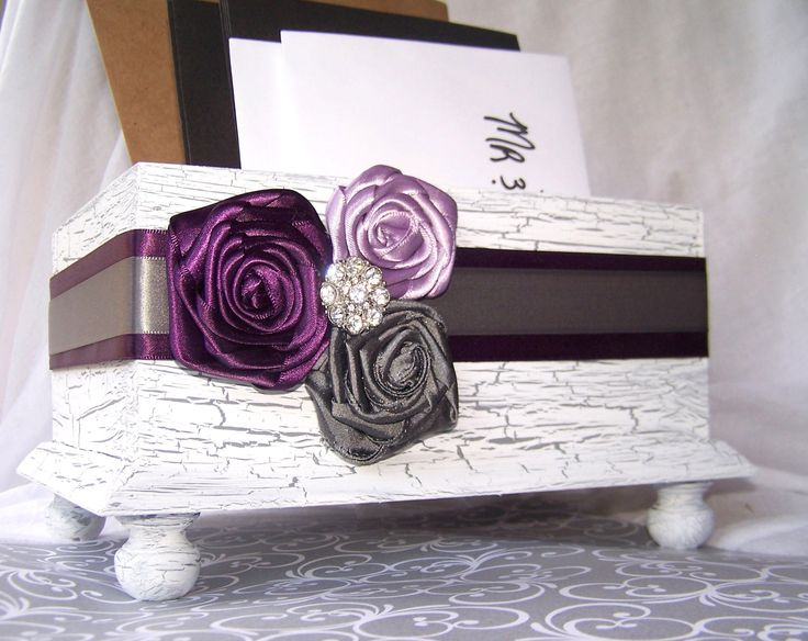 Wedding Card BOX - Wooden White Shabby Chic Box,  Purple and Gray, Custom colors available. $55.00, via Etsy.