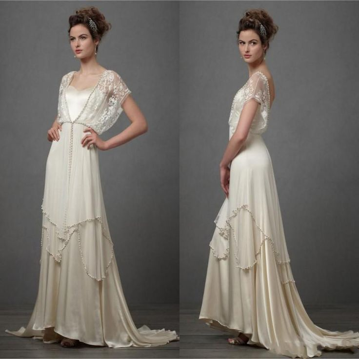 Ivory Bohemian Wedding Dresses Chiffon Short Sleeve Wedding Gowns V Neck A Line Bridal Gowns 2015 Chapel Train With Zipper Beads151