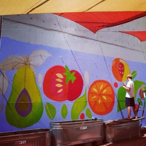 Garden mural done with students for school garden, done in Eco-friendly paint