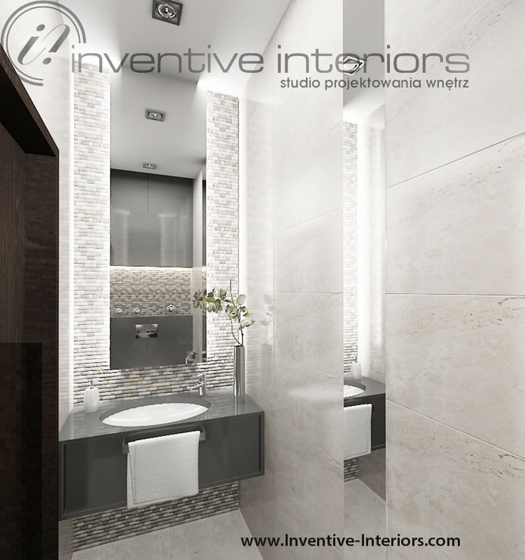 Projekt małej łazienki Inventive Interiors - mała łazienka w beżu i szarości
