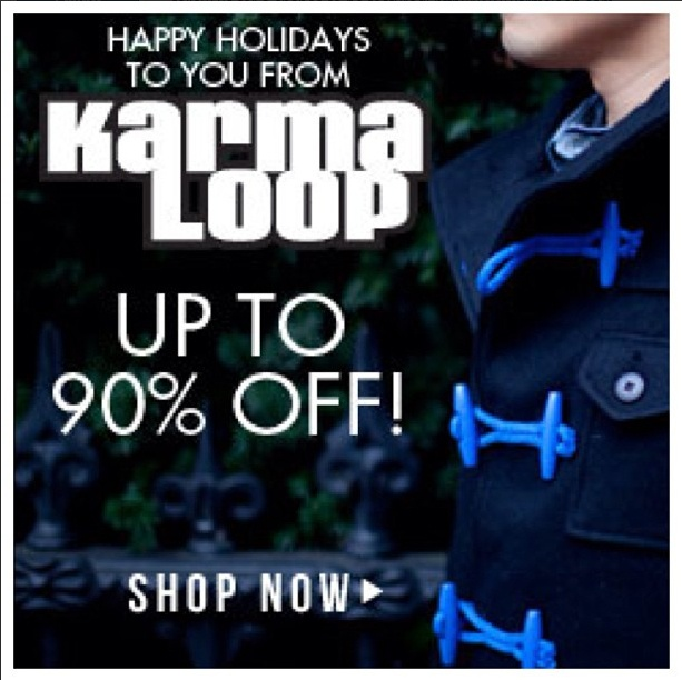 Happy Holidays from #Karmaloop.  Sale up to 90% Off!  You can get extra 31% Off & Free Shipping on all orders at Karmaloop!!!   NO MINIMUM REQUIRED!!   Combine RepCode: SALES & PromoCode: DONNIS30. For more Karmaloop codes, visit http://www.Karmaloop-Codes.com