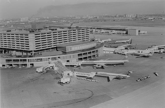 International Airport Toronto 1973. A view of Toronto International Airport in 1973, showing the original Terminal 1 or Aeroquay One (now demolished)