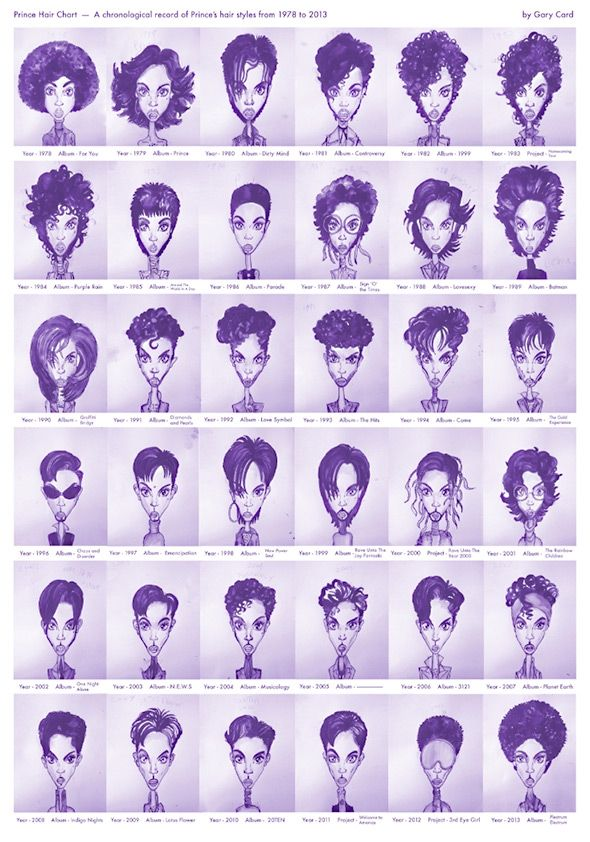 Best 25 prince hair ideas on pinterest braid in hair extensions every prince hairstyle from 1978 to 2013 in one chart urmus Gallery
