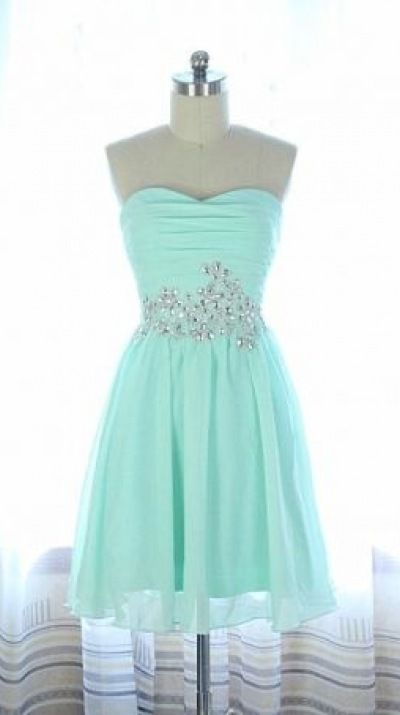 Light Blue A line Chiffon Sequined Short Prom Dress, ing