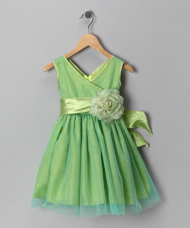 Chic Baby Lime Green Flower Surplice Dress - Toddler & Girls