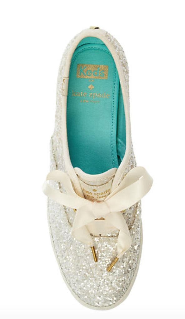 Glitter Wedding Keds. Reception Shoes. Reception Sneakers. Kate Spade Wedding shoes.