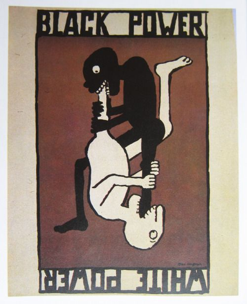 Black Power - White Power. Poster by Tomi Ungerer, 1967.
