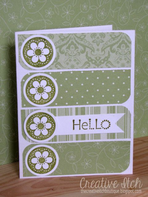 Creative Itch: 'Hello' & 'Thank You' Cards - love the layout and use of patterned paper