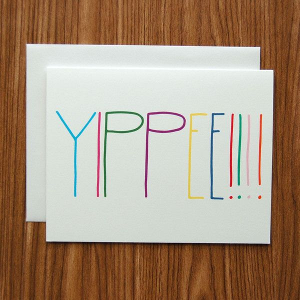 Yippee Hand Lettered Card by Happy Cactus Designs
