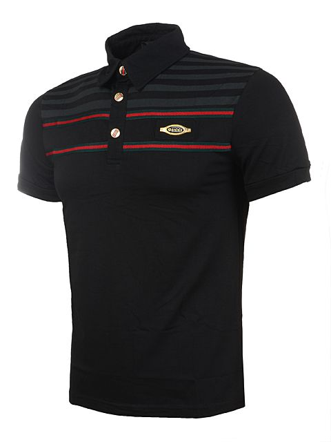 Best Selling Gucci Men Polo Shirt in Black 003