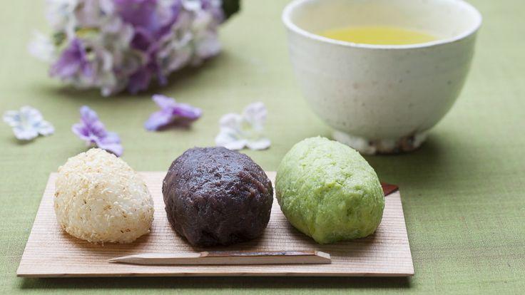 Sanshoku ohagi (trois types de gâteaux de riz faits avec du riz glutineux)