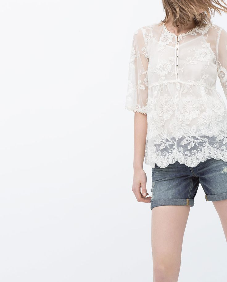 EMBROIDERED TOP from Zara