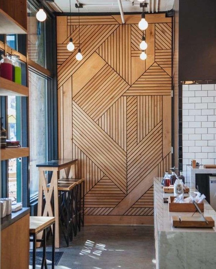 Yay or nay? ~  Café interior timber feature wall by Bells & Whistles 💭