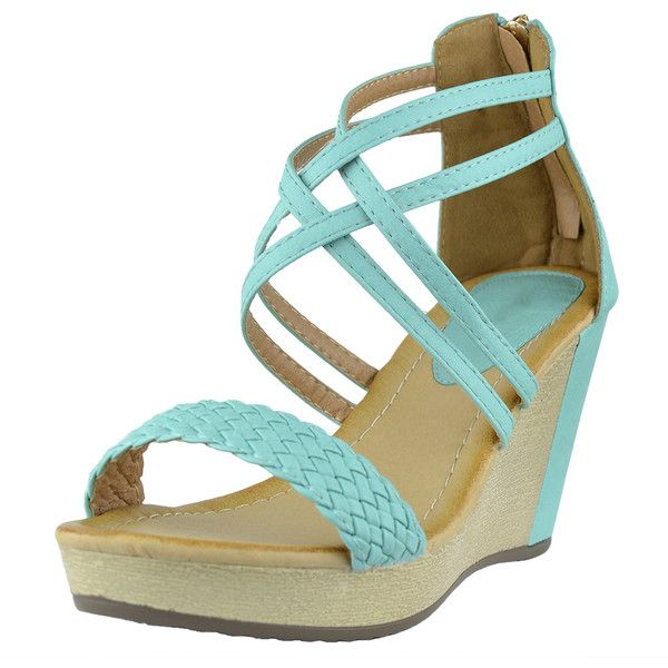 Womens Platform Sandals Weaved Strappy High Wedge Shoes Blue SZ 7 (380 MXN) ❤ liked on Polyvore featuring shoes, sandals, teal, platform sandals, strappy platform sandals, wedges shoes, teal wedge sandals and high wedge sandals