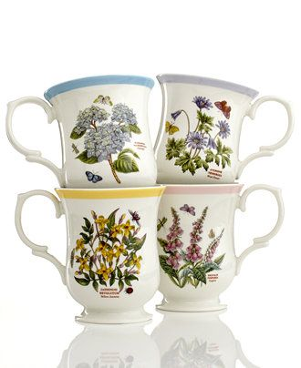 Portmeirion Dinnerware Set Of 4 Botanic Garden Terrace Assorted Mugs Casual Dinnerware