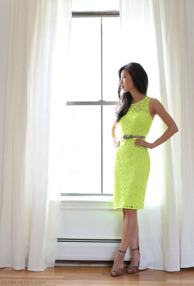 ExtraPetite.com - J.Crew lace pencil dress.    The question is---can I pull off a neon green lace dress?  Answer--probably not, but this is adorable!