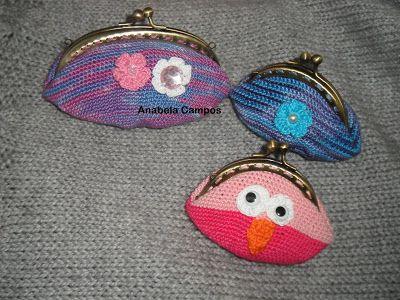 .: Porta moedas de croche com fecho da vovó
