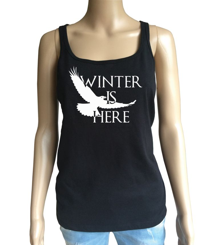 Game of Thrones inspired Winter is here with white raven, Lady's loose tank  top…