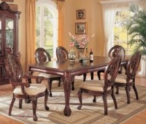 7pc Dining Table & Chairs Set with Ball & Claw Design Legs Cherry Finish