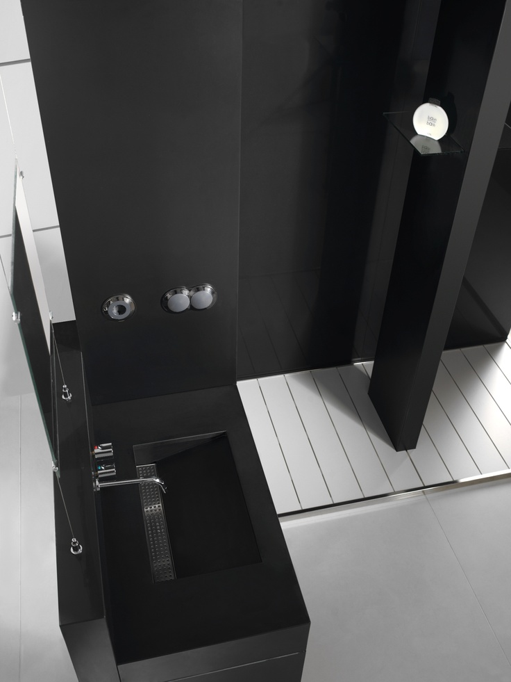 Images Photos Pared u Lavabo Equilibrium Silestone Color Negro Tao u Plato Ducha Fresh de Silestone