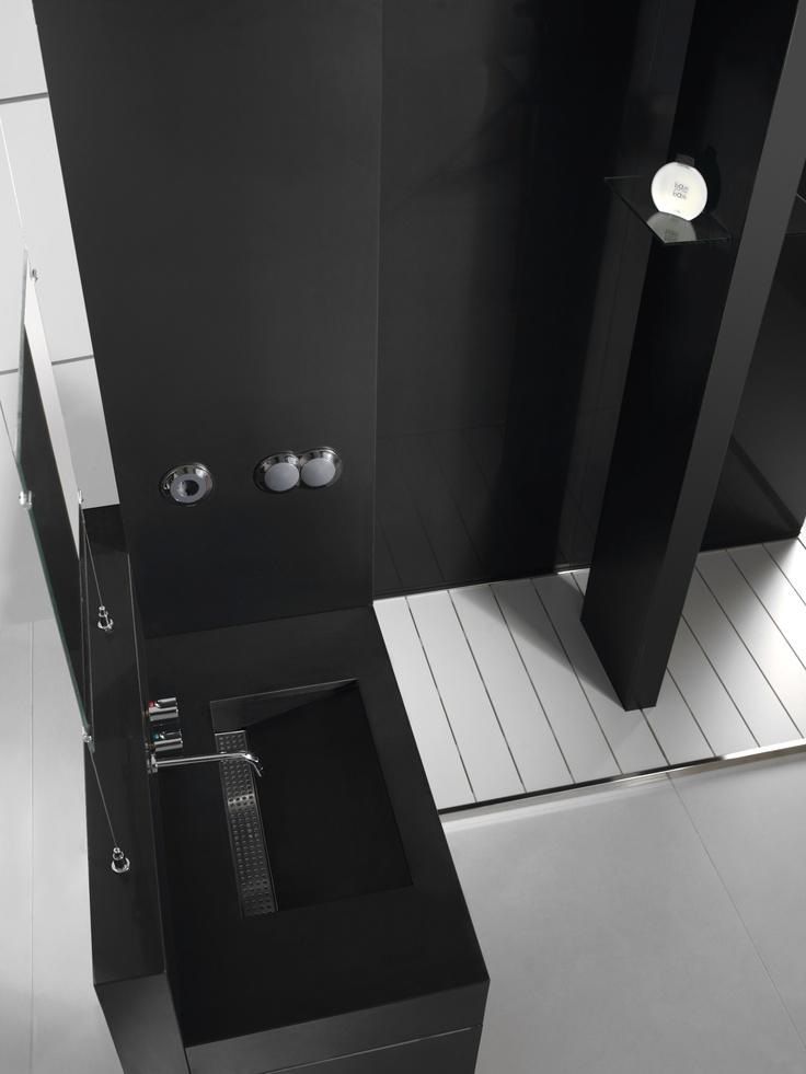 Pared lavabo equilibrium silestone color negro tao - Platos ducha silestone ...