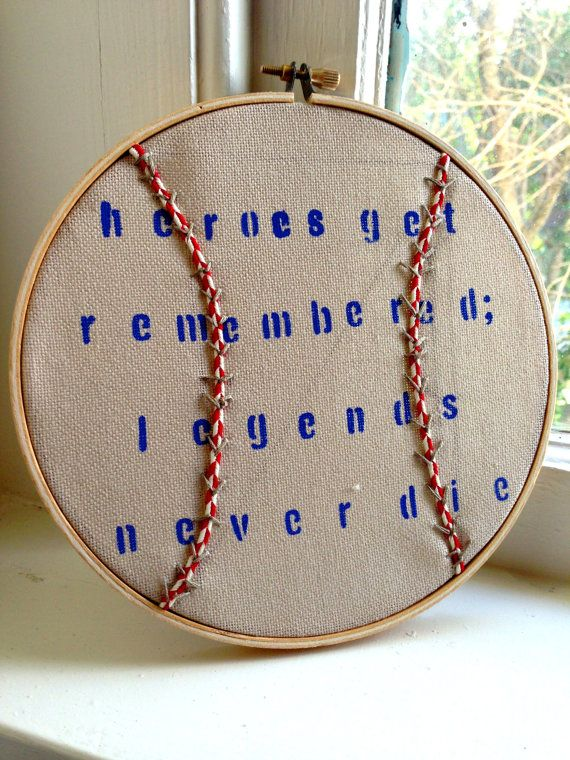 Baseball Embroidery Design Blue Red Linen Quote Legends Little Boy Room Decor Wall Art 7 Inch