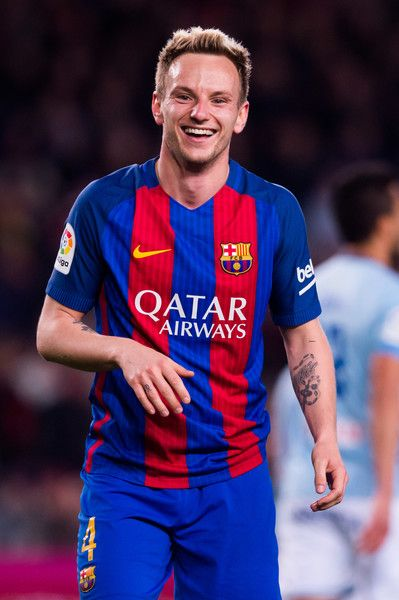 Ivan Rakitic of FC Barcelona celebrates after scoring his team's third goal during the La Liga match between FC Barcelona and RC Celta de Vigo at Camp Nou stadium on March 4, 2017 in Barcelona, Catalonia.