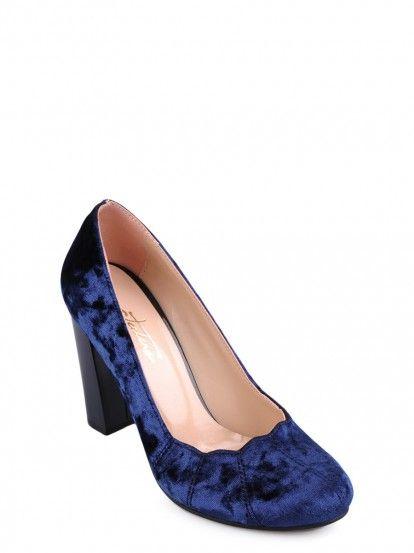Női magassarkú cipő TENDENZ - sötétkék