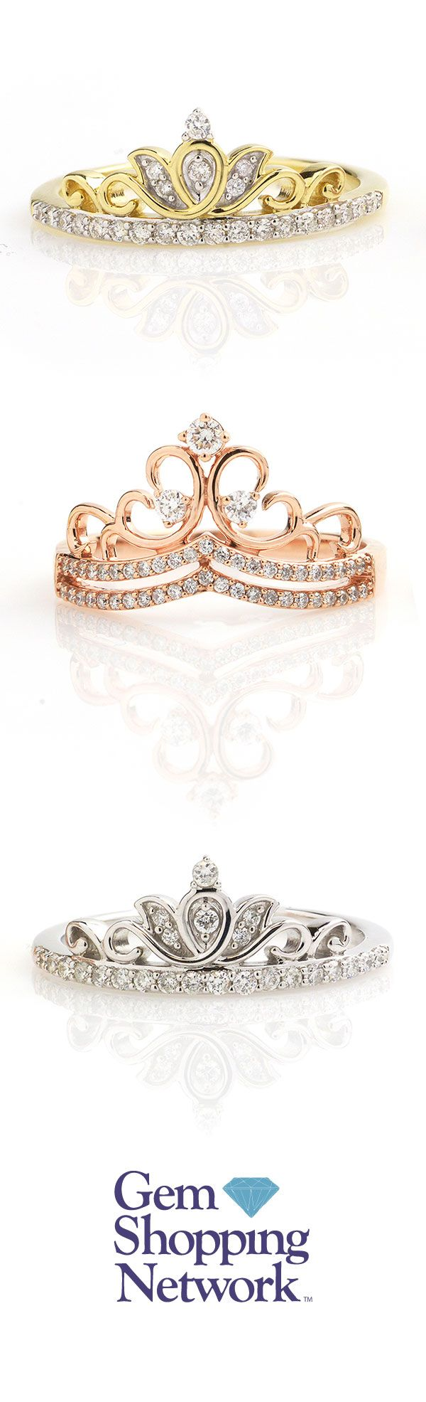 Tiara diamond ring in yellow gold, rose gold, and white gold. Give yourself the royal treatment! Gem Shopping Network