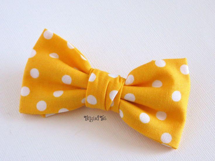 Bow Tie, Bright Yellow With White Polka Dot Unique Bow Tie For Boys in 100% Premium Cotton. $12.00, via Etsy.