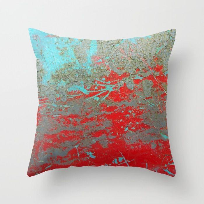 Buy Texture Aqua And Red Paint Throw Pillow By Vrijformaatphoto